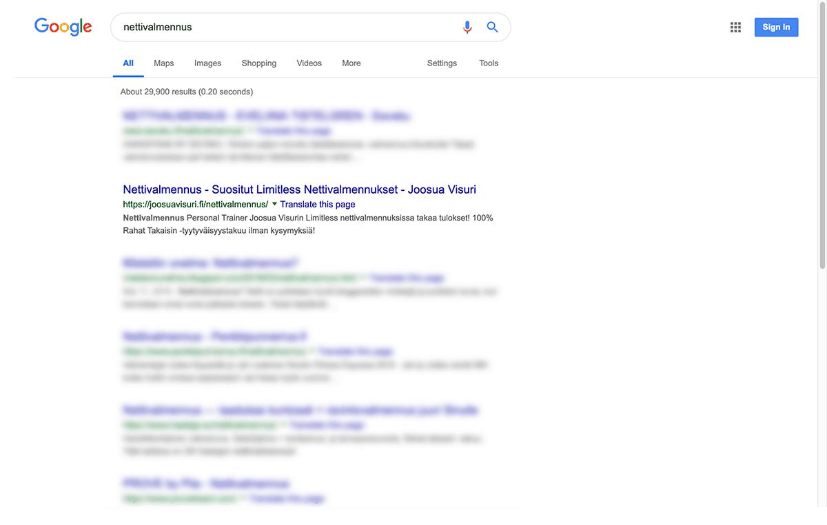 Joosua Visurin verkkosivut ovat nousseet Googlen hakutuloksissa sijalle 2.
