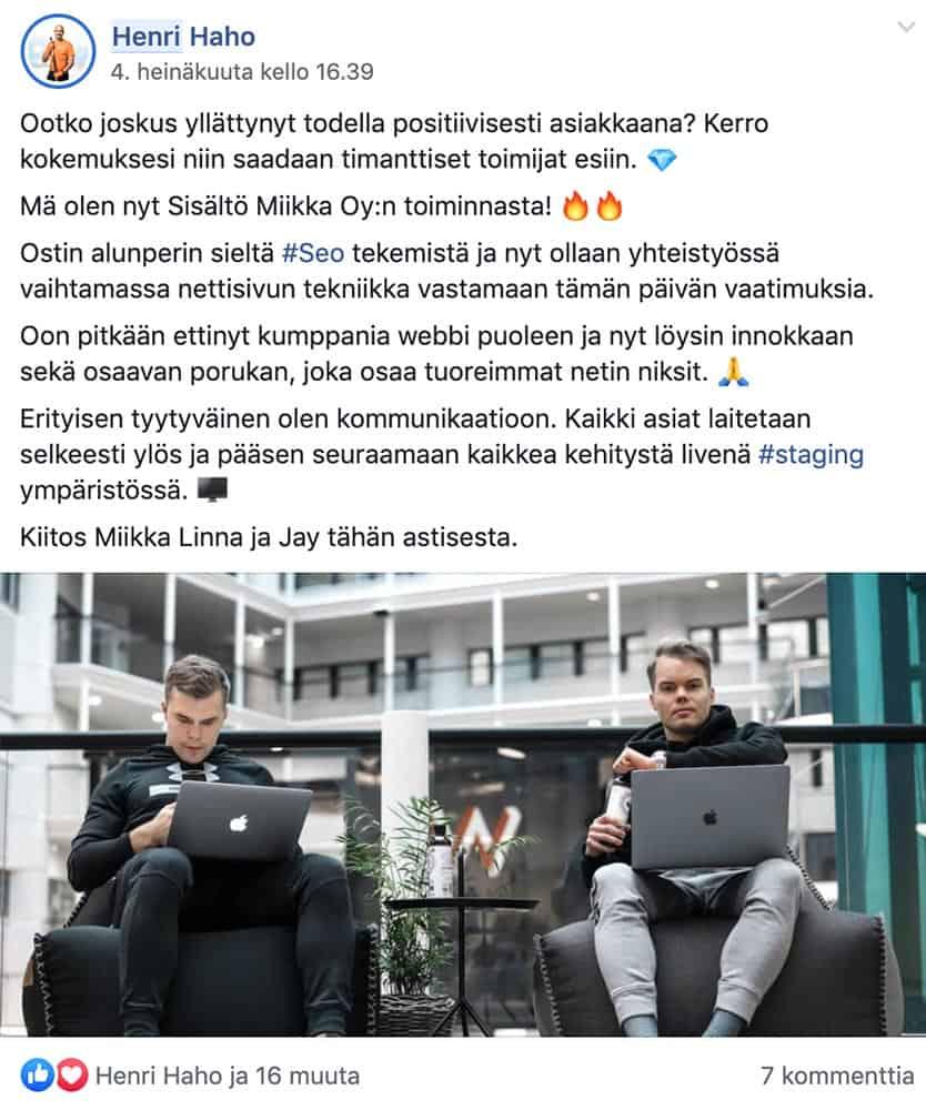 Koti Puhtaaksi Oy:n markkinointipäällikkö Henri Haho yllättyi positiivisesti Sisältö Miikkasta