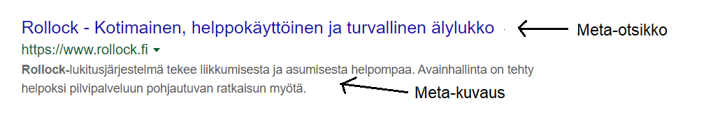 Metaotsikko ja -kuvaus Googlessa